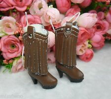 Blythe Pullip Momoko Obitsu Doll Shoes PU Leather Tessel High Heel Boots BROWN