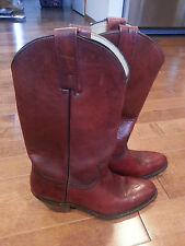 NEW Vintage Frye 2356 Cowboy Leather Boots Mens 7 Womens 9 Burnt Cherry USA
