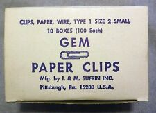 Vintage NOS GEM Paper Clips Type 1 Size 2 10 Boxes 1000 Total I & M Sufrin USA