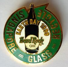 Hard Rock Cafe Pin Earth Day 1999 Glass Recycle Singapore