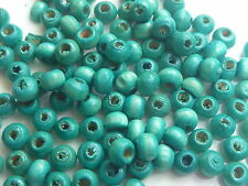 200 4mm DIAMETER ROUND WOODEN BRIGHT GREEN BEADS - 1MM HOLE