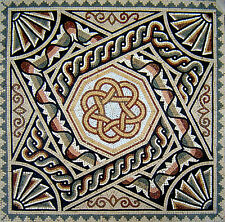 "40"" Handmade Geometric Marble Mosaic Art Tile Stone Floor Wall Table top Decor"
