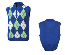 FootJoy Golf Men's Merino Wool Half Zip Argyle Pullover Sweater Vest Blue # XL