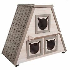 Outdoor Weatherproof Madeira Cat House Cats Home Wooden Pet Kitten Den Pets Bed