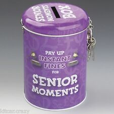NOVELTY INSTANT FINES FOR SENIOR MOMENTS TIN MONEY BOX WITH LOCK,  FUN GIFT
