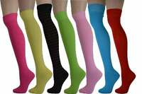 Ladies Plain Colours Over the Knee Red Green yellow Thigh High Socks Sizes 4 -8