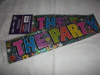 3 x THE PARTY'S HERE ANY OCCASION PARTY BANNERS - DECORATION - LENGTH 3FT EACH