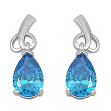DANGLING PEAR SHAPE BLUE TOPAZ .925 Sterling Silver Earrings
