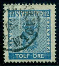 "SWEDEN #8v (9v6) 12ore blue, used, ""Exclamation Point"", Plate Flaw, VF"