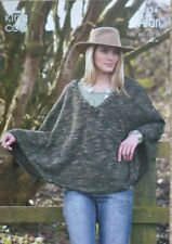 KNITTING PATTERN Ladies Bat-Wing Sleeve V-Neck Cape/Poncho Aran King Cole 3334