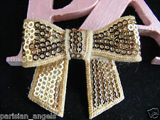 Gold  Sequin Bow (60 x 40mm)Embellishment for Craft & DIY Hair Clips - Pack of 5