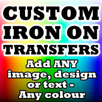 PERSONALISED IRON TRANSFER T SHIRT TSHIRT WITH DESIGN IMAGE TEXT ANY COLOUR!!