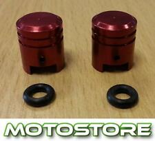 PAIR OF RED PISTON VALVE CAPS FITS YAMAHA YZF R125 2008-2009