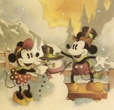 WALT DISNEY,MICKEY,MINNIE MOUSE WITH SNOWMAN,COLLECTIBLE CHRISTMAS GREETING CARD