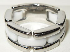 Beautiful Cerruti white ceramic & stainless Steel flexible band ring