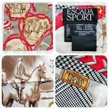 """ESCADA SPORT 100% cotton polo equestrian theme logo handkerchief scarf 17"""" X 17"""""""
