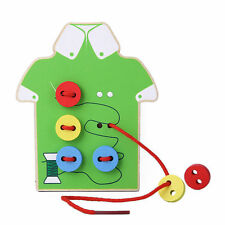 Kids Baby Educational Wooden Toy Sewing Threading Button Beads Lacing Board .