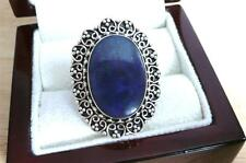 LARGE OVAL CABOCHON BLUE LAPIS LAZULI 925 STERLING SILVER ETHNIC RING SZ P 8