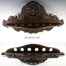 """Antique Carved French Brittany Style Hanging 18"""" Pipe Rack, Turned Fretwork"""
