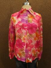 Vtg 60s NOS NEW Bright Tropical Floral Nylon Chiffon Shirt Blouse M Hawaiian Fun