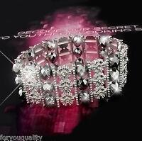 Grey Crystal Diamante Silver Metal Fashion Bracelet Jewellery For Women Lady