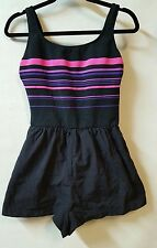 Gabar One Piece Black Striped Swimsuit Shortini Size 14 Pockets Bathing Suit