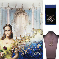 Newest Beauty And The Beast  Rose Tree Pendant Necklace Belle Cosplay Accessory