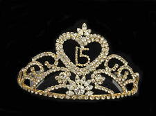 Gold-Crystal Rhinestones Sweet 15 Quinceanera w/Combs. Tiara. 3.25 Inches Tall
