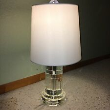 ~ NEW ~ RALPH LAUREN CLEAR SOLID CRYSTAL CYLINDER DESK TABLE LAMP WHITE SHADE