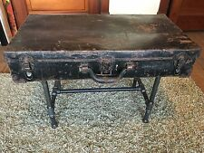 ANTIQUE VINTAGE RIVET SUITCASE SIDE TABLE/COFFEE TABLE-STEAMPUNK, ONE OF A KIND!