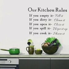 DIY Removable Wall Sticker Vinyl Quote Mural Home Art Kitchen Rules Decal Decor