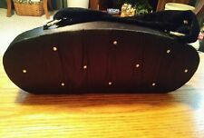 015 Gently Used Victoria Secret Clamshell Hardside Bag Black Fabric Shiny Jewels