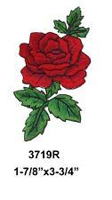 #3719R Red Rose Flower Embroidery Iron On Applique Patch