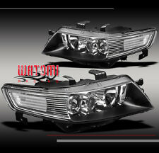04-05 ACURA TSX SEDAN 4DR PROJECTOR HEADLIGHT LAMP JDM BLACK LENS LEFT+RIGHT SET