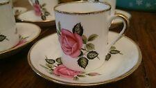Vintage Toscano China x6 Tazas De Café Latas Demitasse Expresso Rojo Rosa Excelente