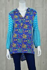 New Women's XS Tolani Silk Abstract Print Colorful Tunic Top Boho Peasant Bishop