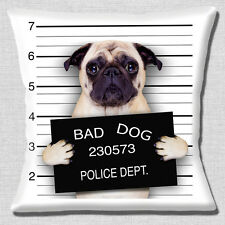 "NEW Funny Novelty FAWN  PUG BAD DOG LINE UP PHOTO PRINT 16"" Pillow Cushion Cover"