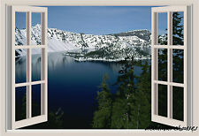 Mountains Lake Snow Window View Repositionable Color Wall Sticker Wall Mural