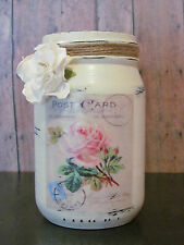 ~French Postcard~ Shabby Chic Distressed Jar/Vase in Olde Ivory