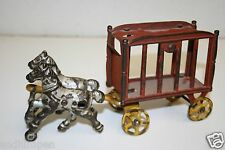 Vintage Antique 1920s Cast Iron Red Rolling Circus Wagon Toy w/ Horses Rare