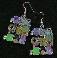 Collage Enamel Crystal Large Hook Earrings Pink Blue Green Purple Yellow