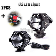2x Black Motorcycle Motorbike LED U5 Headlight Driving Fog Spot Light & Switch