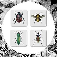 Urraca Curios Posavasos-Juego de 4 Bugs Insectos curiosidad de estilo vintage y retro bebida Esteras