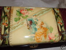 ANTIQUE VICTORIAN CELLULOID FRENCH COUPLE ROSES VANITY DRESSER TOILET CASE BOX