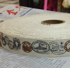 Vintage Style Postmarks Travel Paris Cotton Ribbon - Steampunk, Shabby Chic - 1m