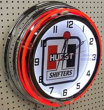 "18"" HURST Shifters Sign Double Neon Clock"