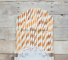 50 Peach, Rose Gold Foil Straws, Fall Party Decor, 30th 40th 50th Birthday Baby