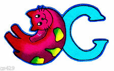 """3"""" SILLY ANIMAL ALPHABET ABC'S LETTER C CAT CHARACTER  FABRIC APPLIQUE IRON ON"""
