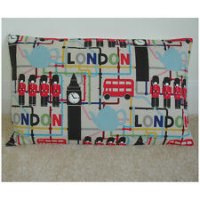 """20""""x12"""" Oblong Bolster Cushion Cover London Big Ben Red Bus Map Guards 12x20"""