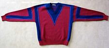 YVES SAINT LAURENT VINTAGE MEN'S V-NECK SKI SWEATER 100% WOOL EARLY 80'S SIZE L